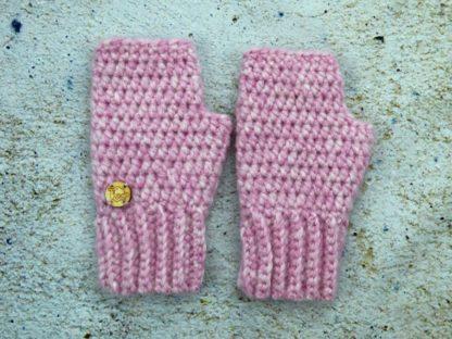 Rękawiczki damskie alpaka różowe z naturalnej wełny alpaki
