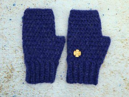 Granatowe ciepłe rękawiczki z alpaki ręcznie wykonane