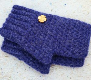 Granatowe ciepłe rękawiczki z alpaki miękkie i ciepłe mitenki bez palców