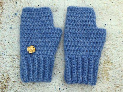 Niebieskie rękawiczki damskie mitenki bardzo praktyczne