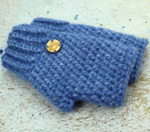 Niebieskie rękawiczki damskie mitenki