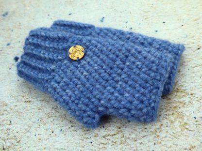 Niebieskie rękawiczki damskie mitenki ciepłe na zimę