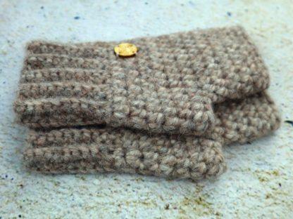 Rękawiczki zimowe bez palców z naturalnej alpaki, beżowe